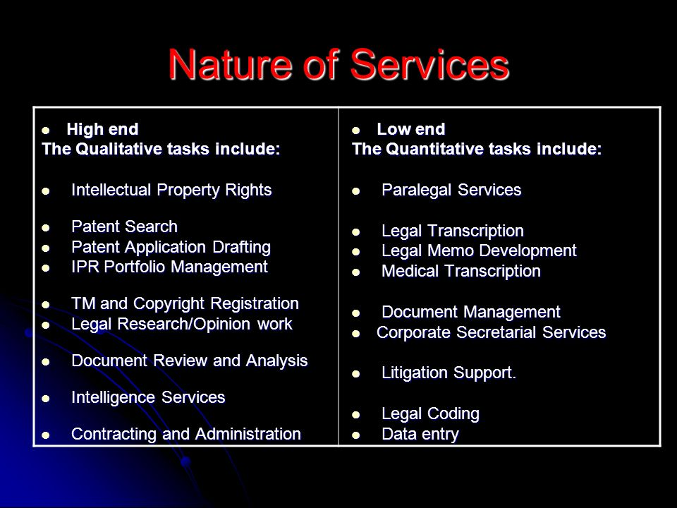Nature of Services High end The Qualitative tasks include:
