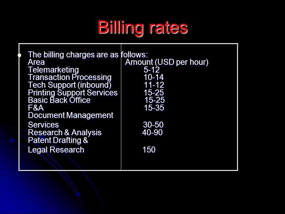 Billing rates