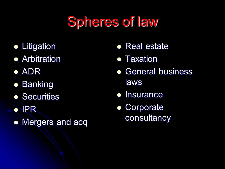Spheres of law Litigation Arbitration ADR Banking Securities IPR
