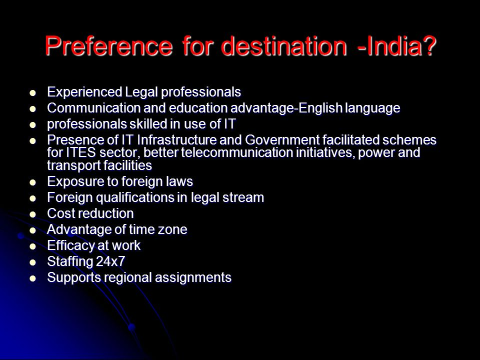 Preference for destination -India