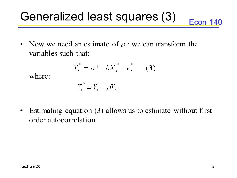 Generalized least squares (3)