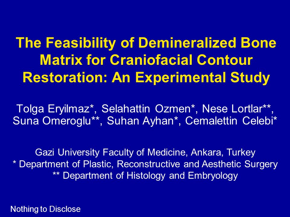 The Feasibility of Demineralized Bone Matrix for Craniofacial Contour Restoration: An Experimental Study