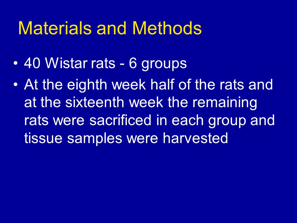 Materials and Methods 40 Wistar rats - 6 groups