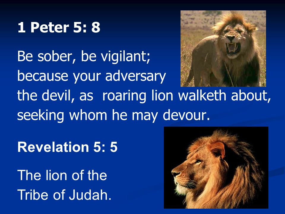 1 Peter 5: 8 Be sober, be vigilant; because your adversary the devil, as roaring lion walketh about, seeking whom he may devour.