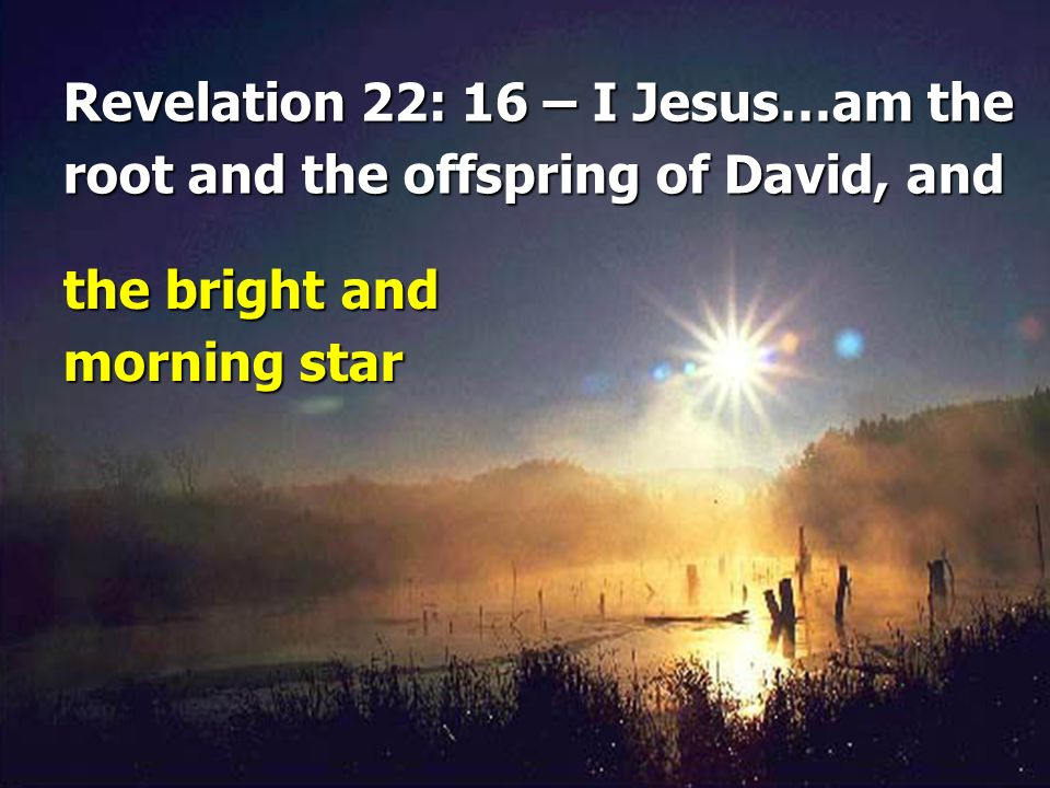 Revelation 22: 16 – I Jesus…am the root and the offspring of David, and