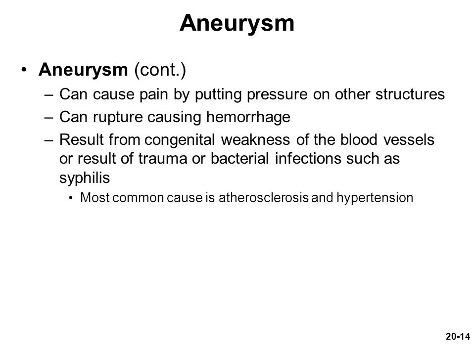 Aneurysm Aneurysm (cont.)