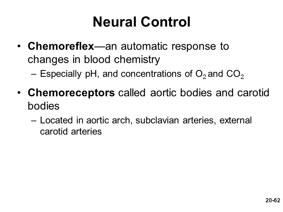 Neural Control Chemoreflex—an automatic response to changes in blood chemistry. Especially pH, and concentrations of O2 and CO2.