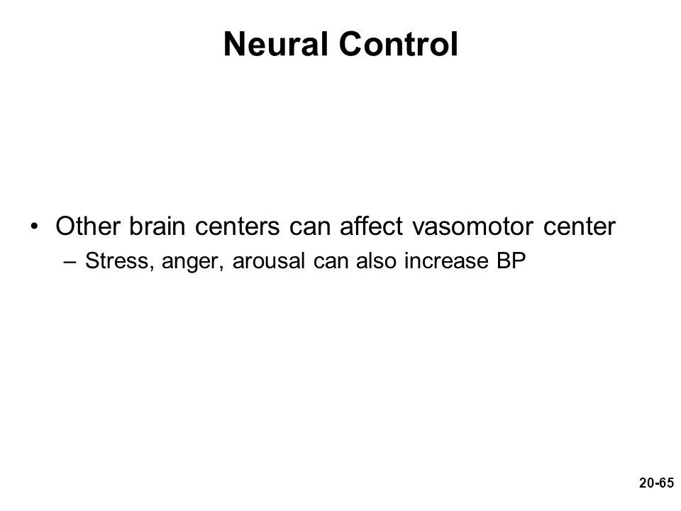 Neural Control Other brain centers can affect vasomotor center