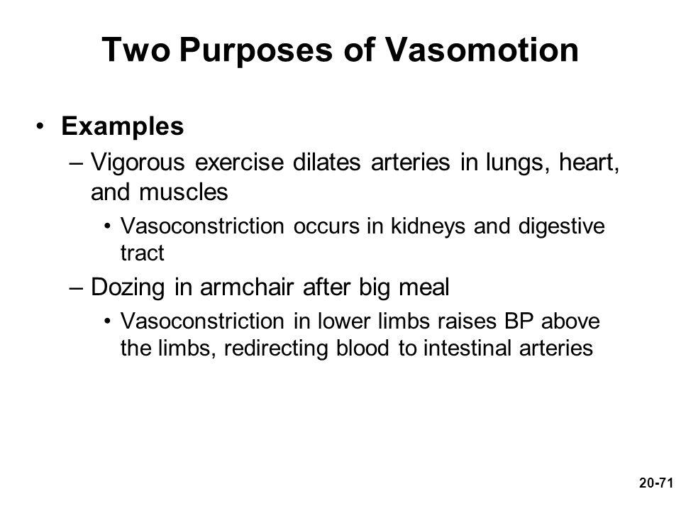 Two Purposes of Vasomotion