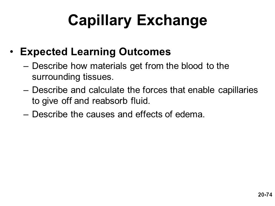 Capillary Exchange Expected Learning Outcomes