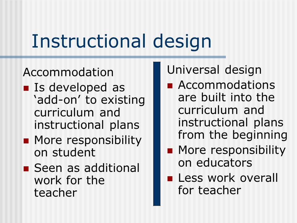 Instructional design Universal design Accommodation