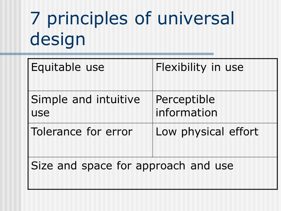 7 principles of universal design