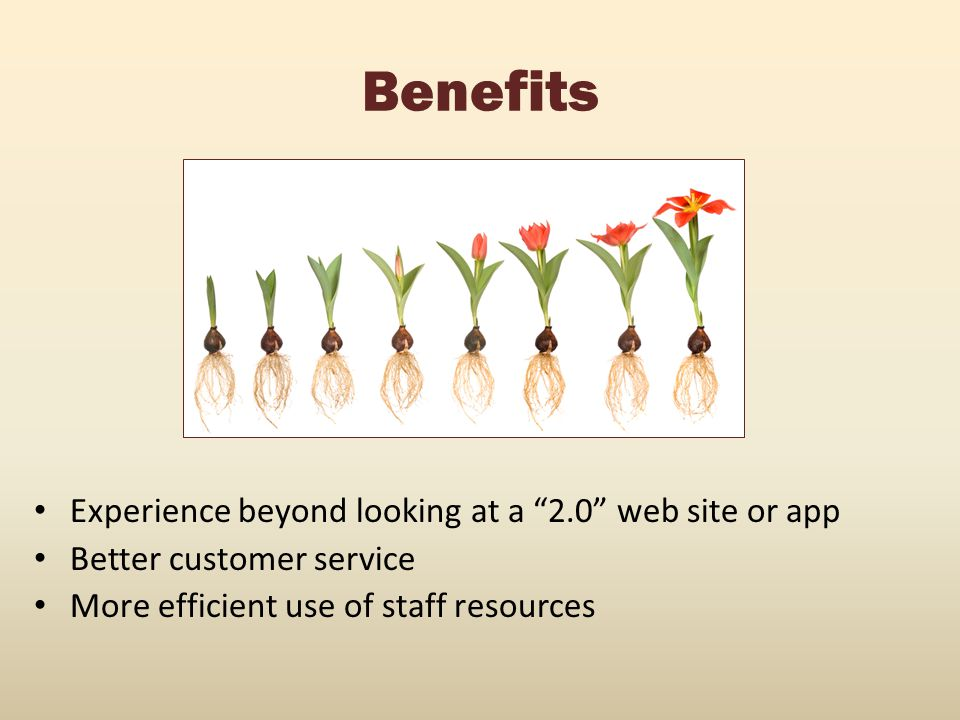 Benefits Experience beyond looking at a 2.0 web site or app