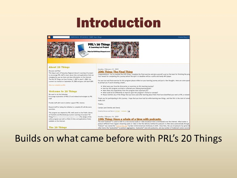 Builds on what came before with PRL's 20 Things