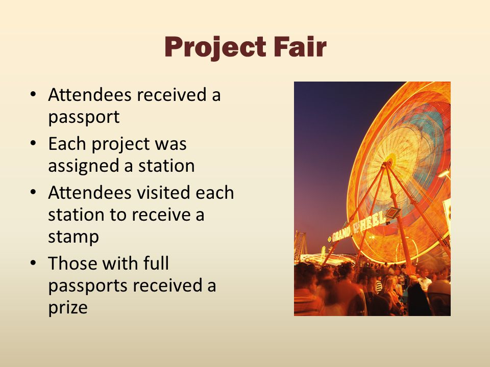 Project Fair Attendees received a passport