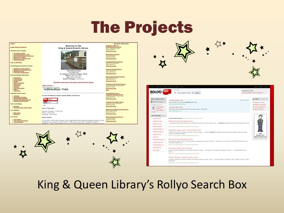 King & Queen Library's Rollyo Search Box