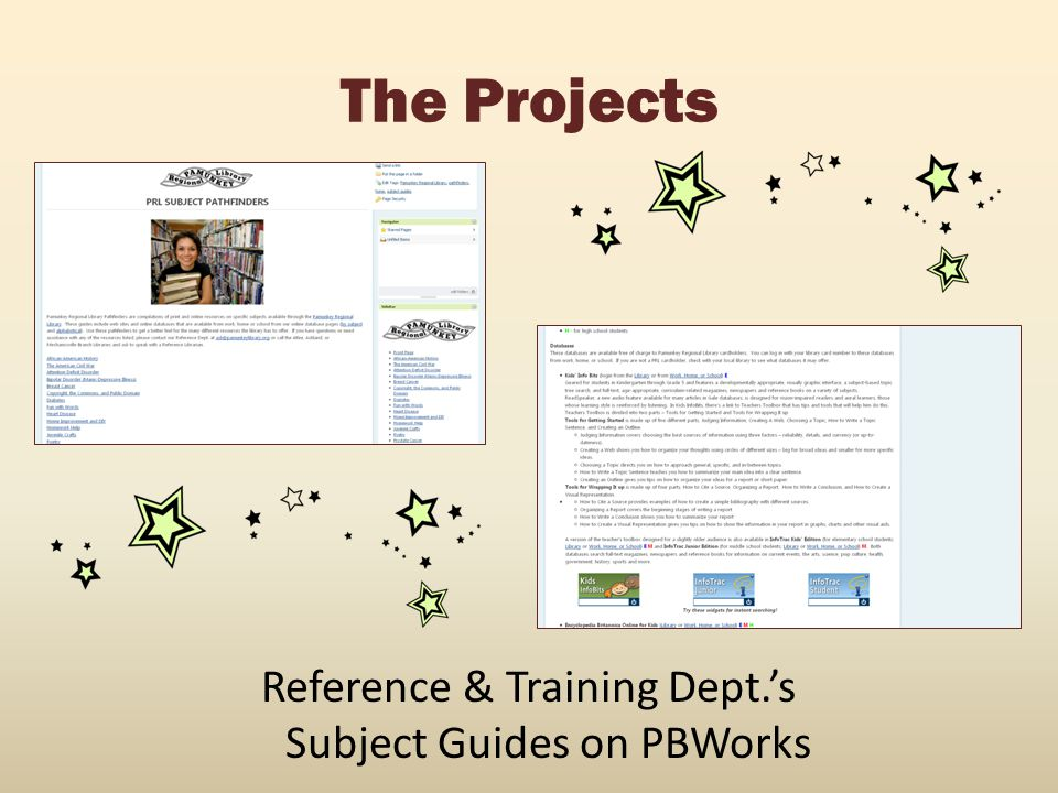 Reference & Training Dept.'s Subject Guides on PBWorks