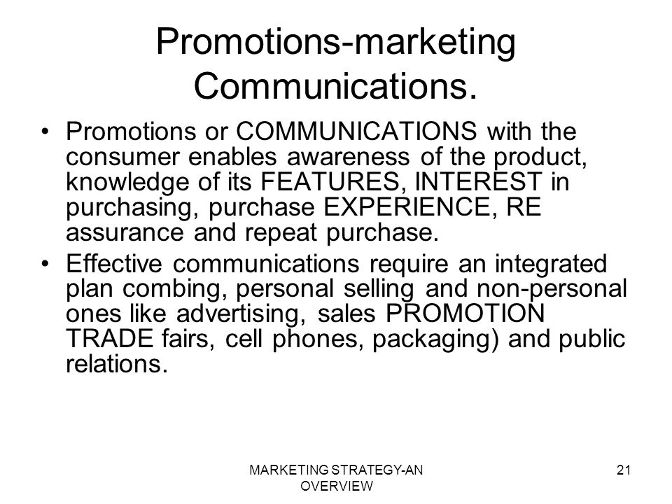 Promotions-marketing Communications.