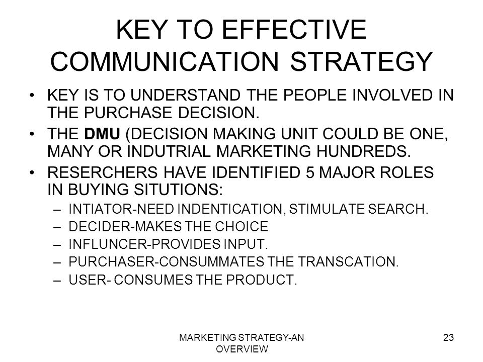 KEY TO EFFECTIVE COMMUNICATION STRATEGY
