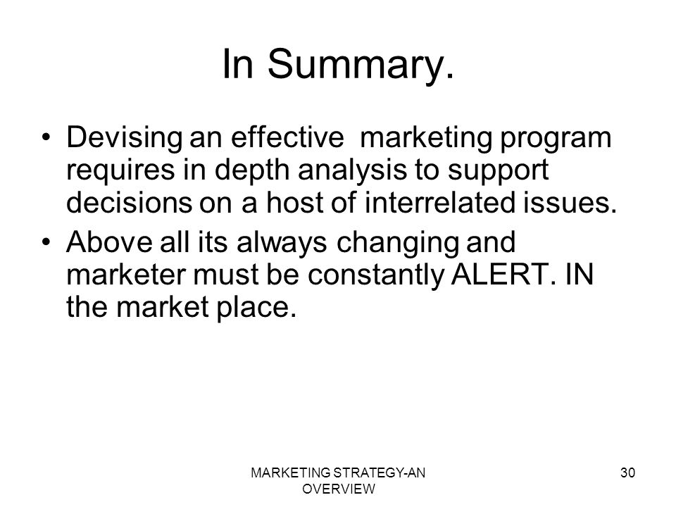 MARKETING STRATEGY-AN OVERVIEW