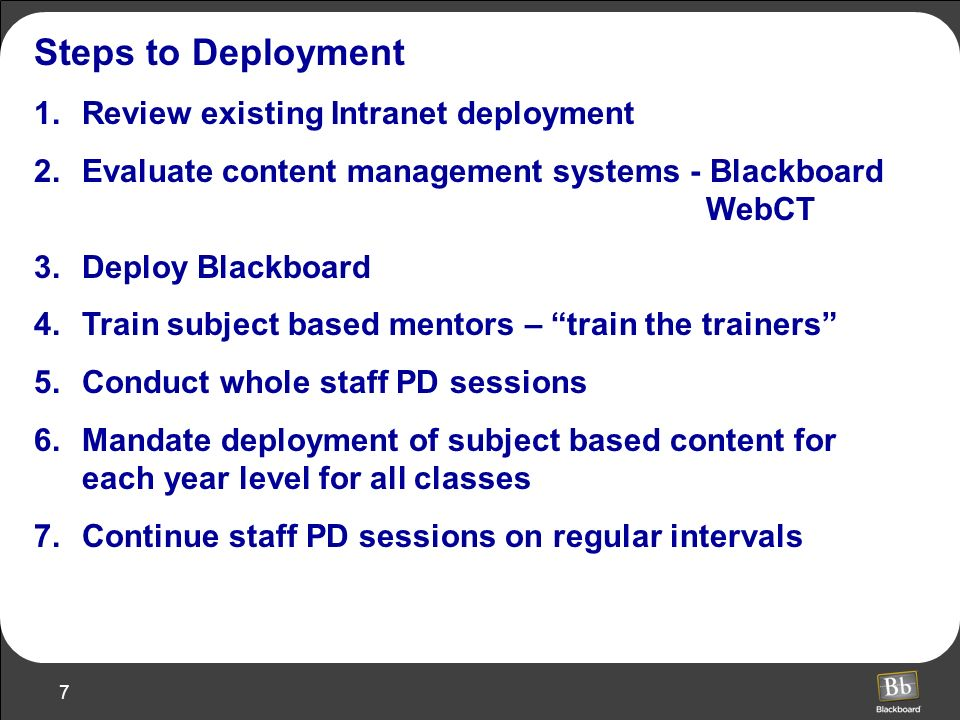 Steps to Deployment Review existing Intranet deployment