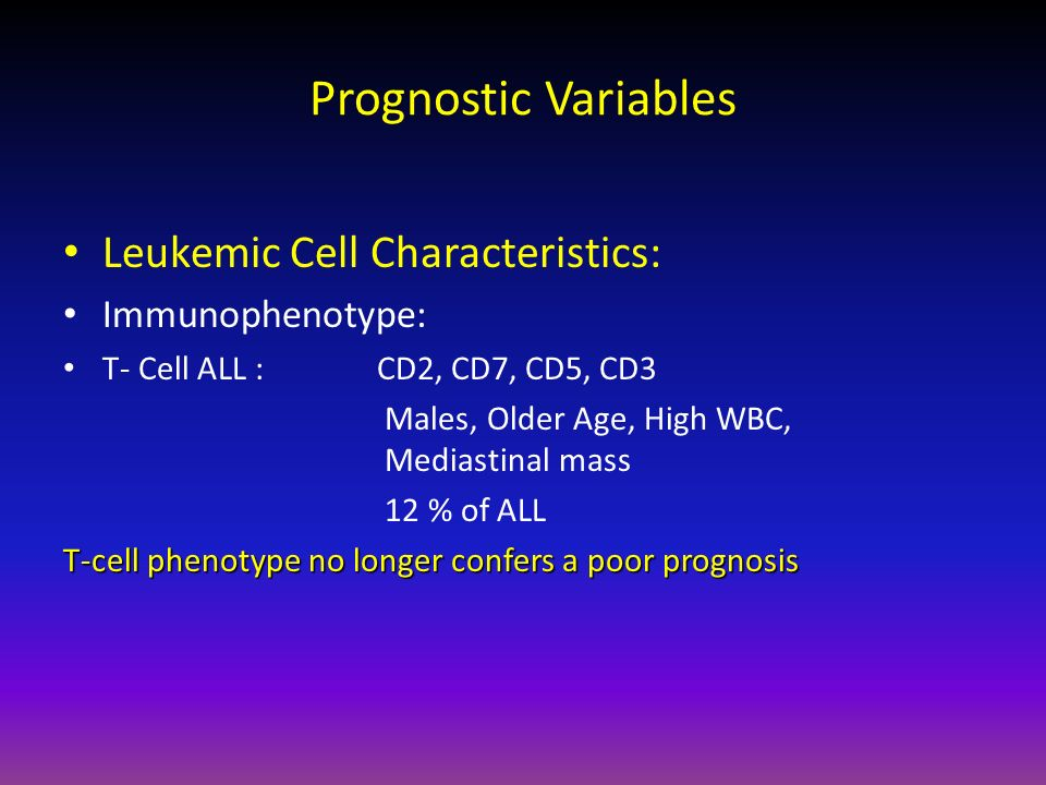 Prognostic Variables Leukemic Cell Characteristics: Immunophenotype: