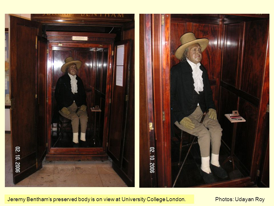 Jeremy Bentham's preserved body is on view at University College London.