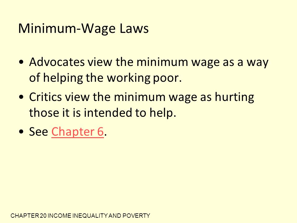 Minimum-Wage Laws Advocates view the minimum wage as a way of helping the working poor.