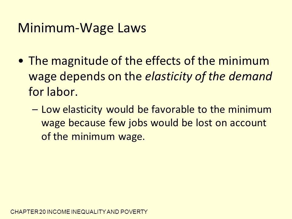 Minimum-Wage Laws The magnitude of the effects of the minimum wage depends on the elasticity of the demand for labor.