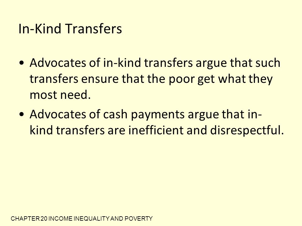 In-Kind Transfers Advocates of in-kind transfers argue that such transfers ensure that the poor get what they most need.