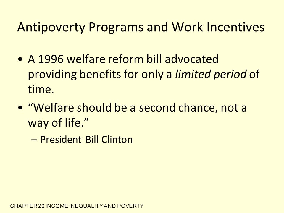 Antipoverty Programs and Work Incentives