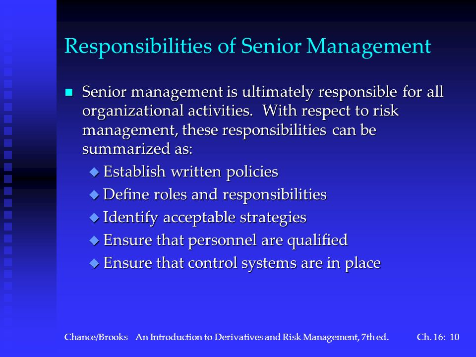 Responsibilities of Senior Management