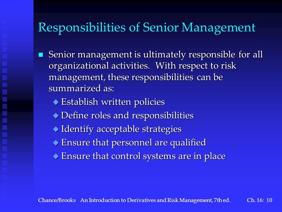 Responsibilities of Senior Management