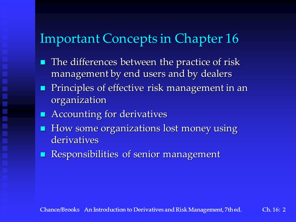 Important Concepts in Chapter 16