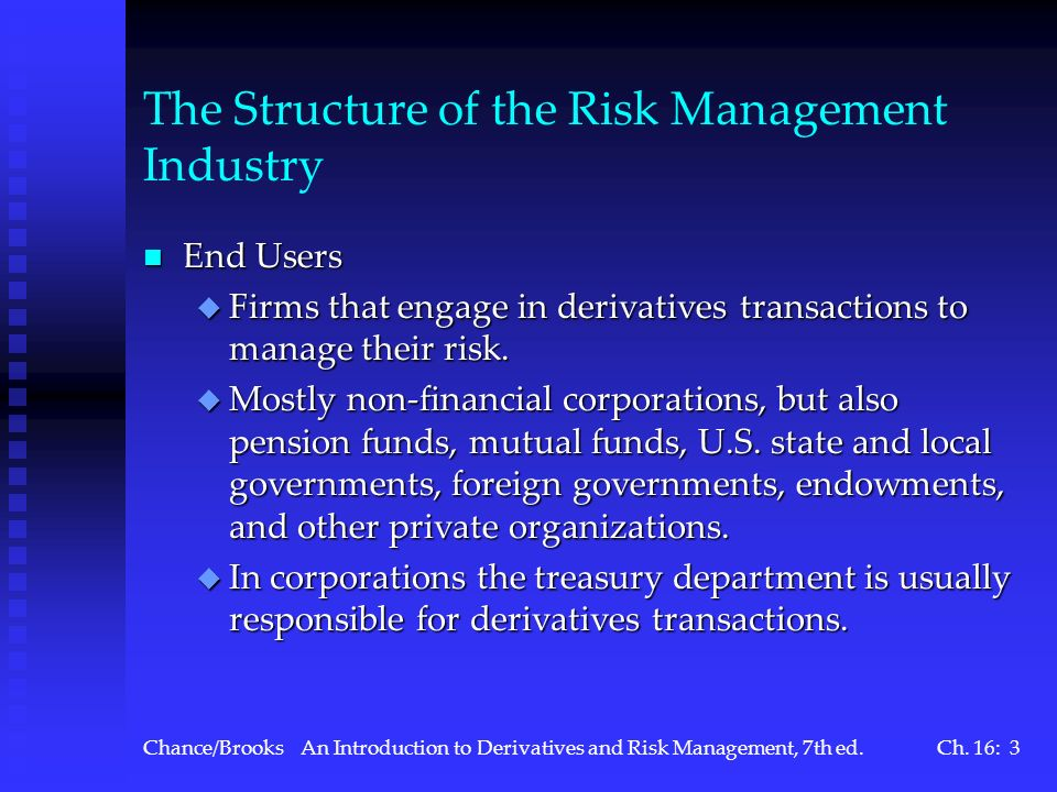The Structure of the Risk Management Industry