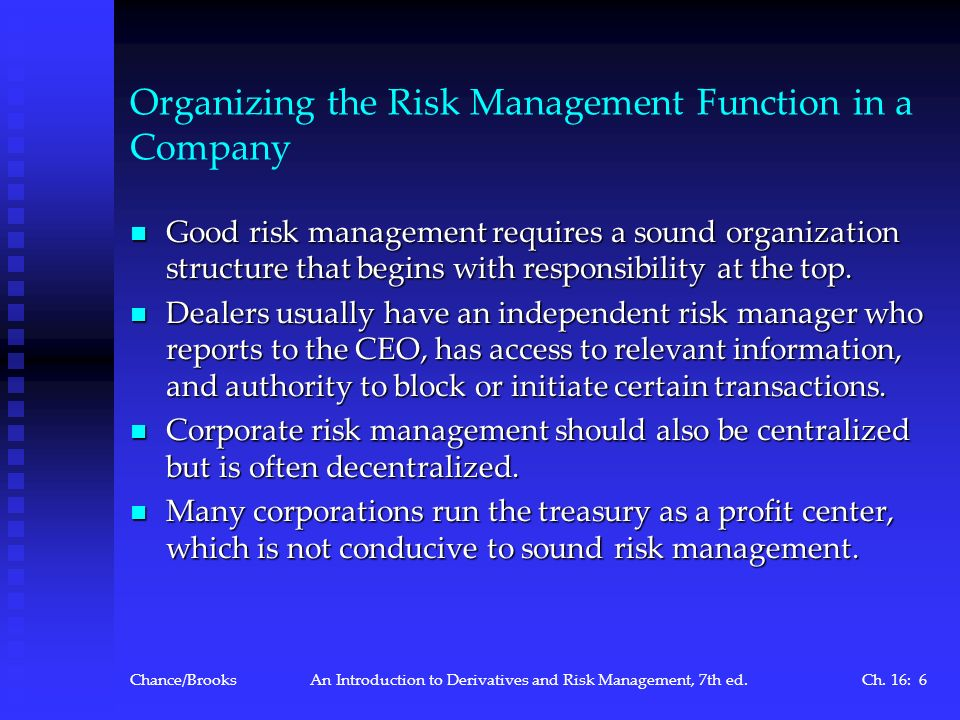 Organizing the Risk Management Function in a Company