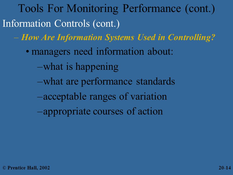 Tools For Monitoring Performance (cont.)