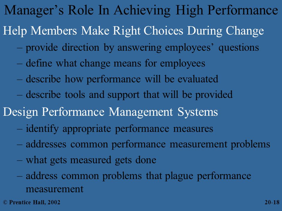 the role of the manager in identifying performance issues in a team The phrase project manager is a bit of a misnomer while project managers do  manage projects, they deliver them by managing a project.