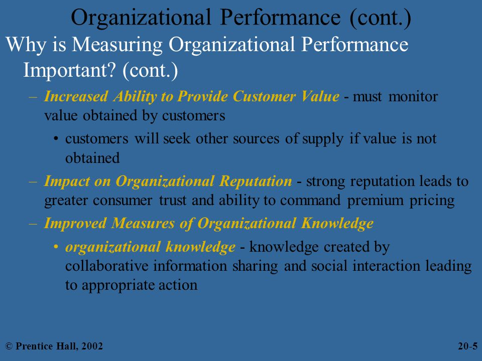 Organizational Performance (cont.)