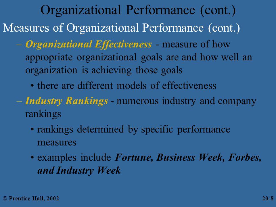 Organizational Performance (cont.)