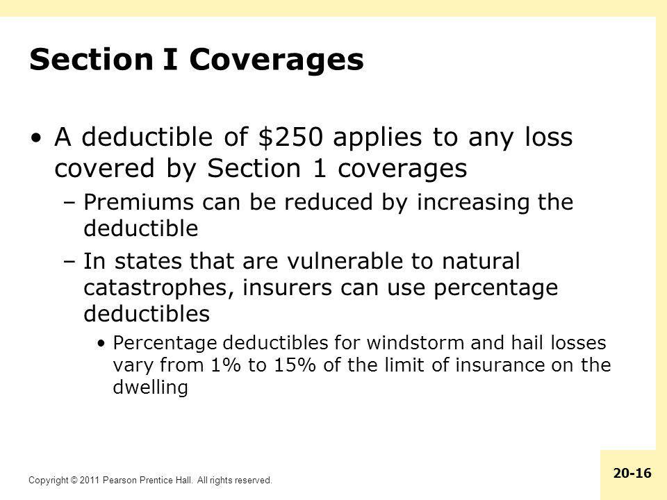 Section I Coverages A deductible of $250 applies to any loss covered by Section 1 coverages. Premiums can be reduced by increasing the deductible.