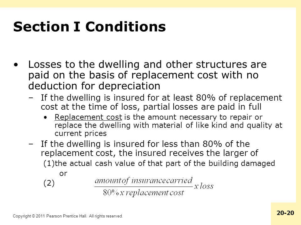 Section I Conditions Losses to the dwelling and other structures are paid on the basis of replacement cost with no deduction for depreciation.