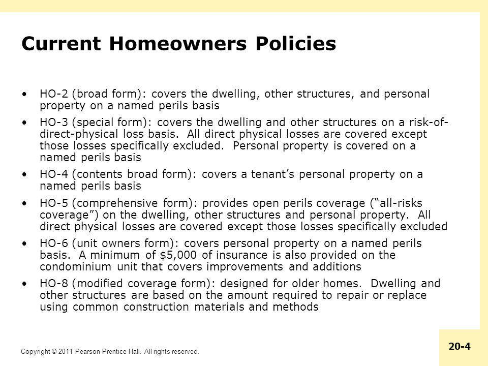 Current Homeowners Policies