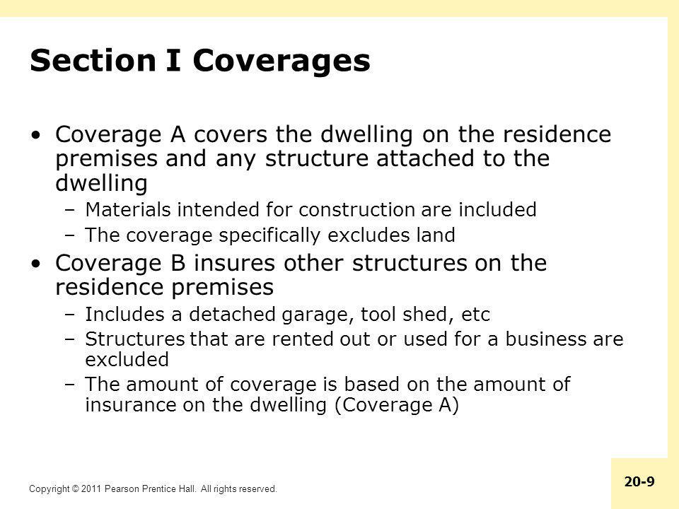 Section I Coverages Coverage A covers the dwelling on the residence premises and any structure attached to the dwelling.