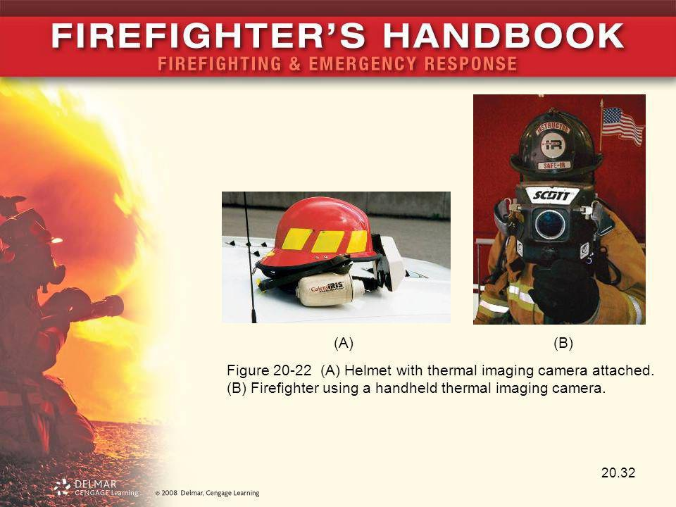 (A) (B) Figure 20-22 (A) Helmet with thermal imaging camera attached.