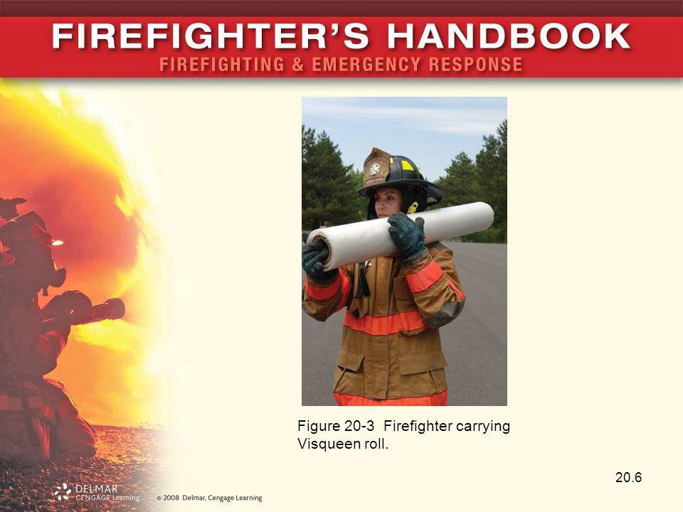 Figure 20-3 Firefighter carrying Visqueen roll.
