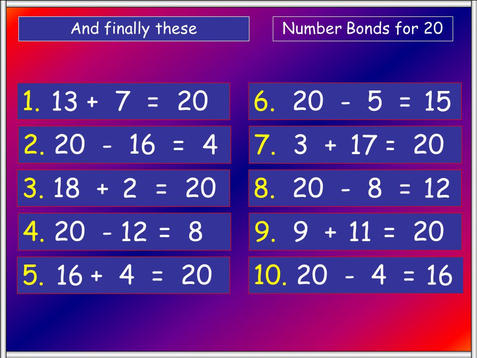 And finally these Number Bonds for 20. 1. + 7 = 20. 13. 6. 20 - 5 = 15. 2. 20 - 16 =