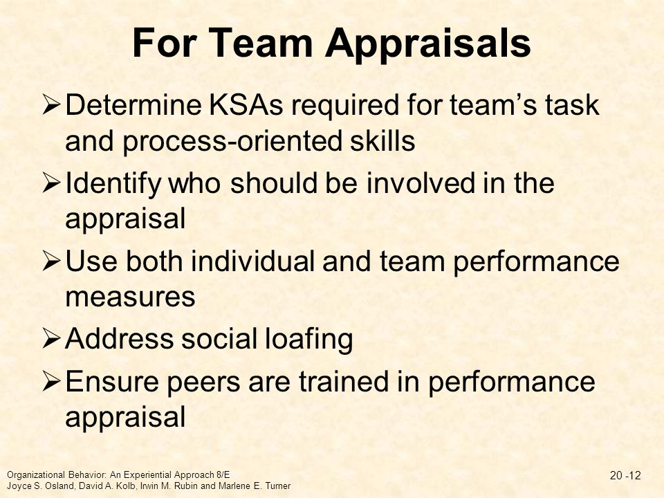 For Team Appraisals Determine KSAs required for team's task and process-oriented skills. Identify who should be involved in the appraisal.