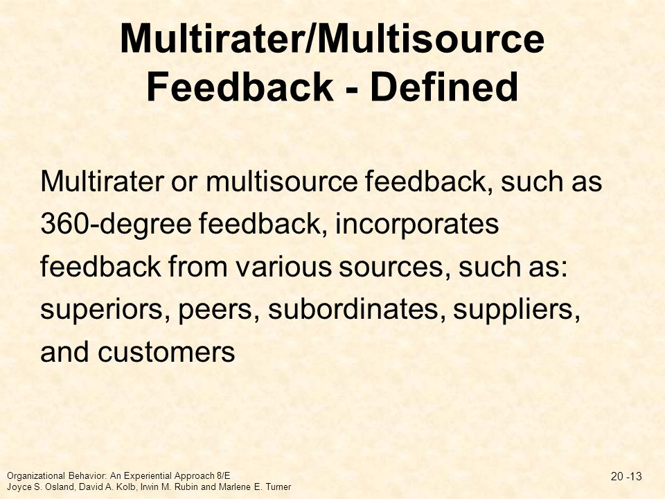Multirater/Multisource Feedback - Defined