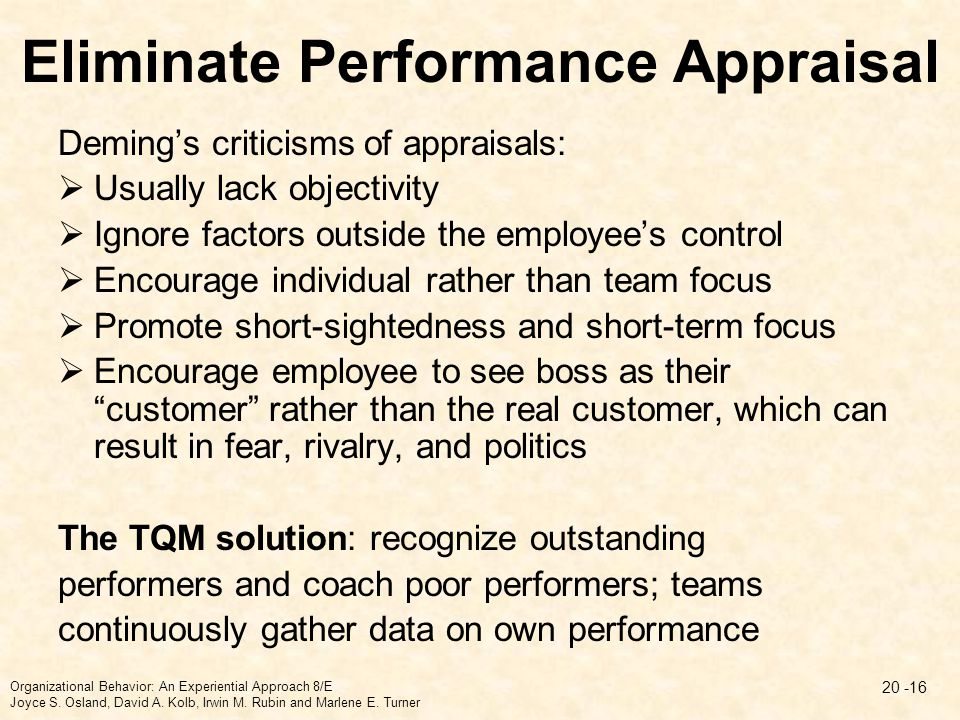 Eliminate Performance Appraisal
